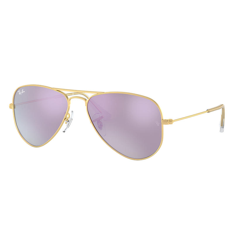Ray-Ban Aviator Junior Gold Sunglasses, Violet Lenses