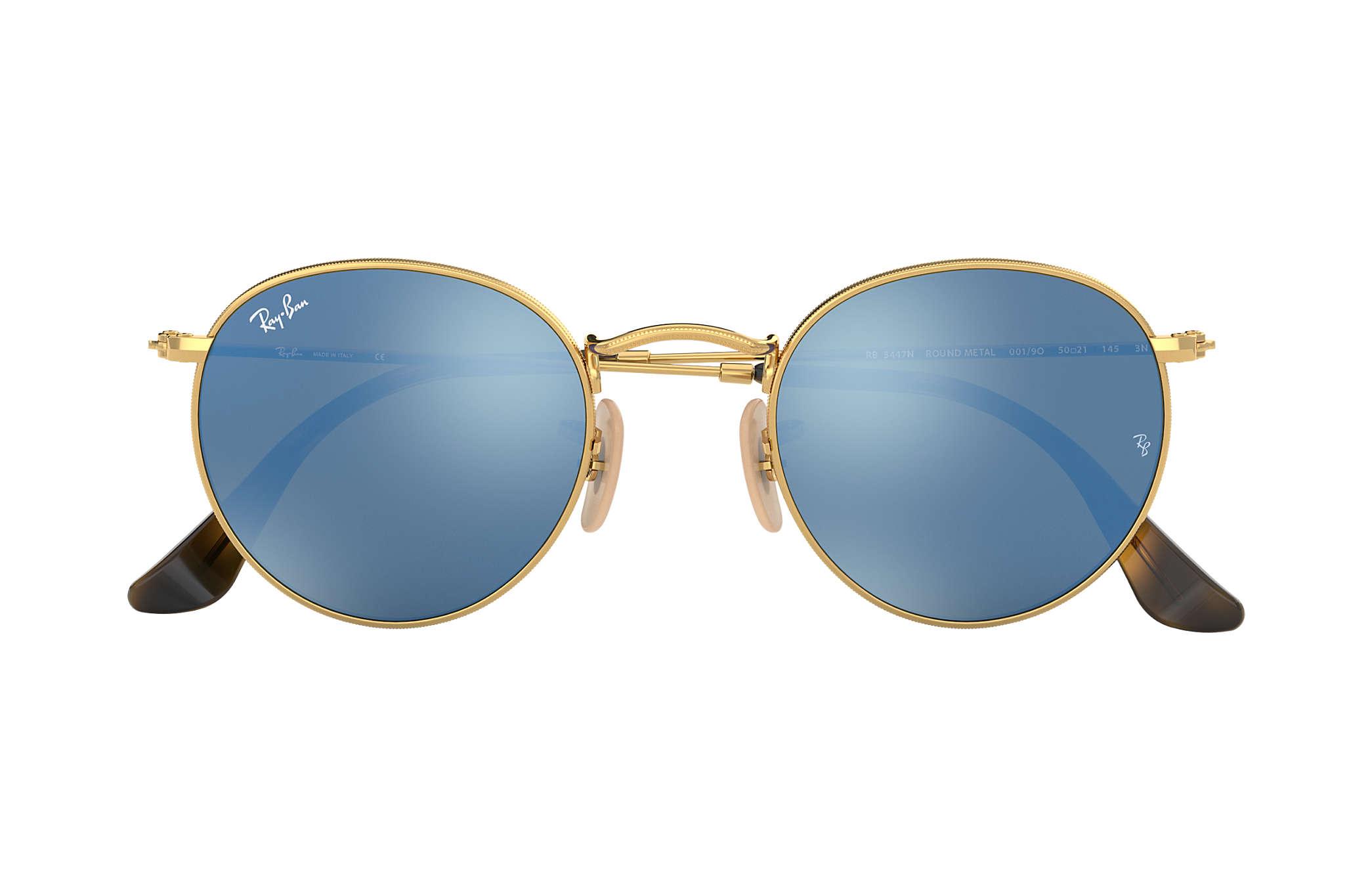 c9d4c284e9 Ray-Ban Round Flat Lenses RB3447N Gold - Metal - Light Blue Lenses ...