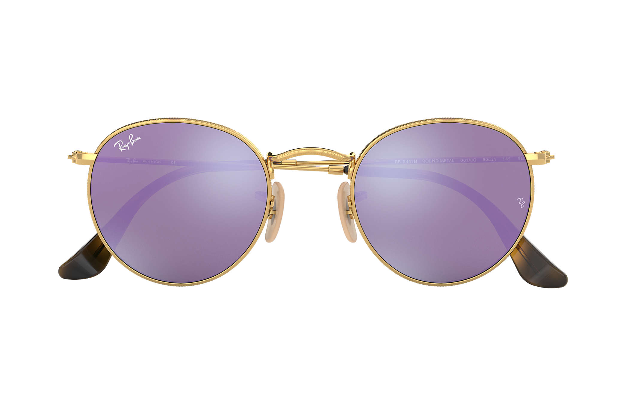 b5f7a0a774 Ray-Ban Round Flat Lenses RB3447N Gold - Metal - Lilac Lenses ...
