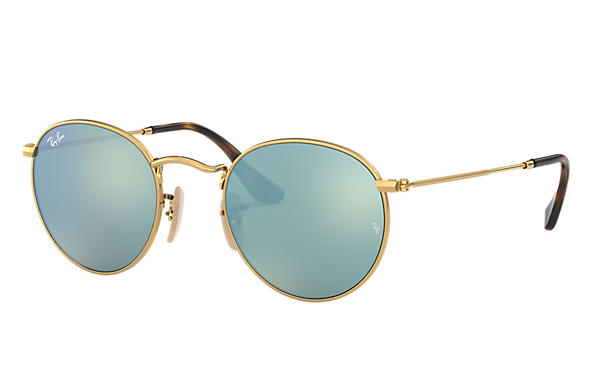 536306f0c Ray-Ban Round Flat Lenses RB3447N Gold - Metal - Green Lenses ...