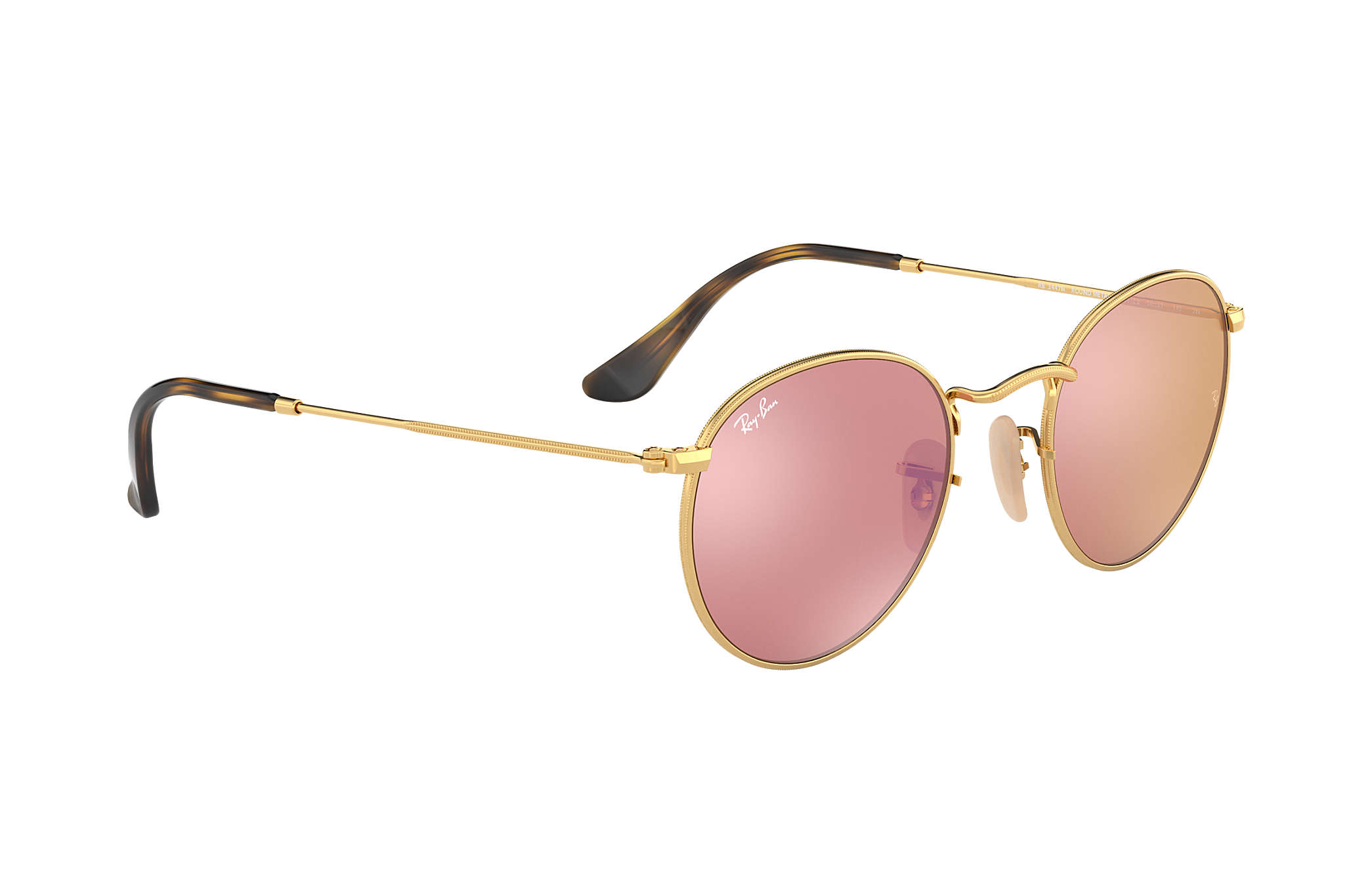 8667e29353a Ray-Ban Round Flat Lenses RB3447N Gold - Metal - Copper Lenses ...