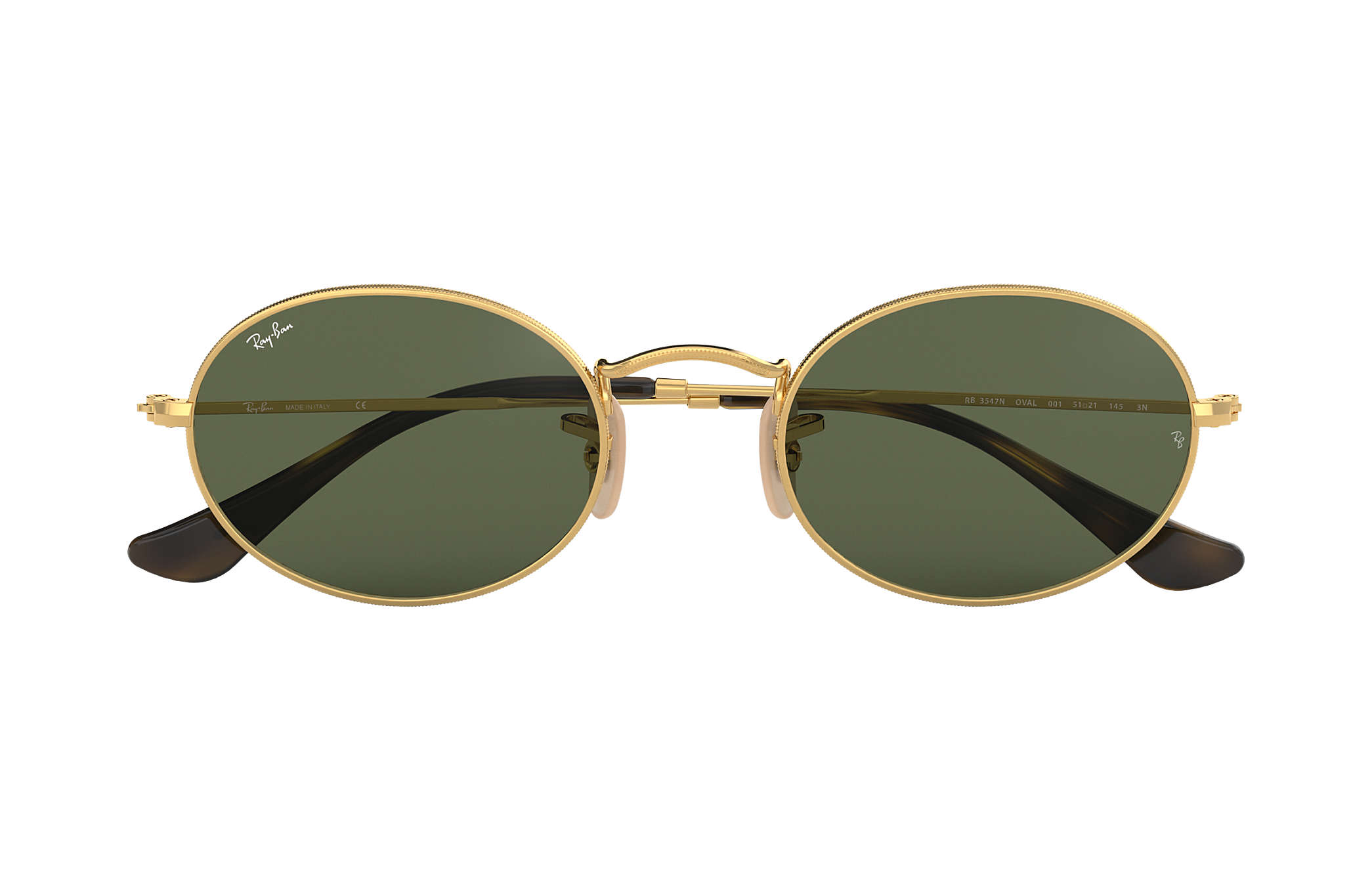 ca5b1c03c Ray-Ban Oval Flat Lenses RB3547N Gold - Metal - Green Lenses ...