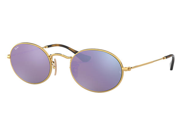 e9fd67b4af Ray-Ban Oval Flat Lenses RB3547N Gold - Metal - Lilac Lenses ...