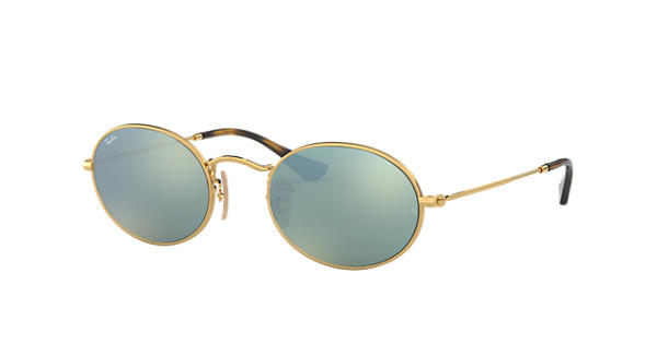 d5e5b59ce2 Ray-Ban Oval Flat Lenses RB3547N Gold - Metal - Silver Lenses -  0RB3547N001 3051