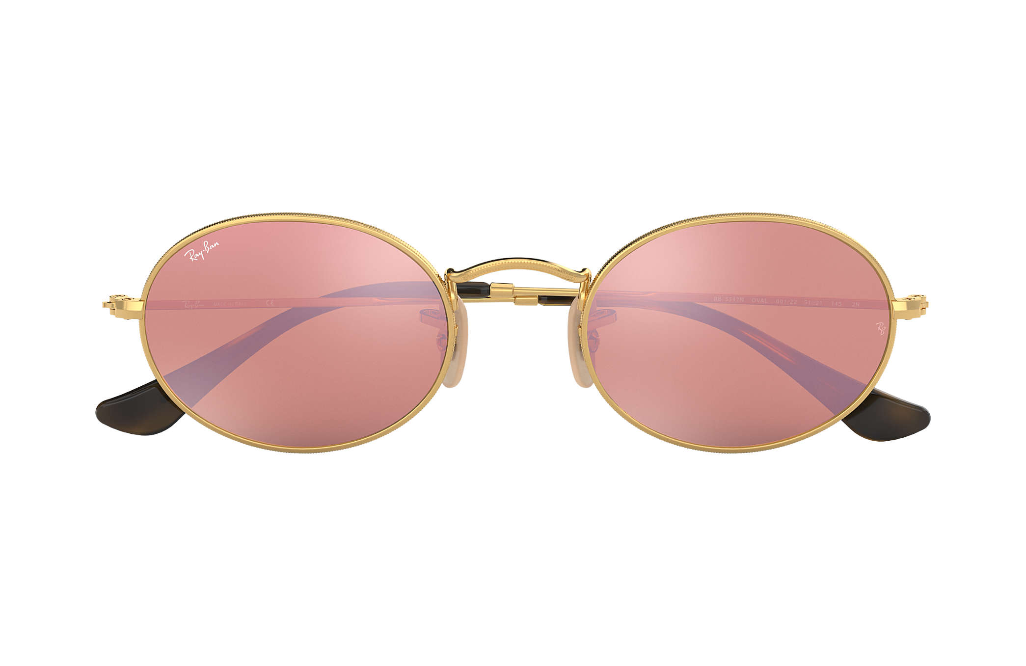 bb53a50b96ce53 Ray-Ban Oval Flat Lenses RB3547N Gold - Metal - Copper Lenses ...