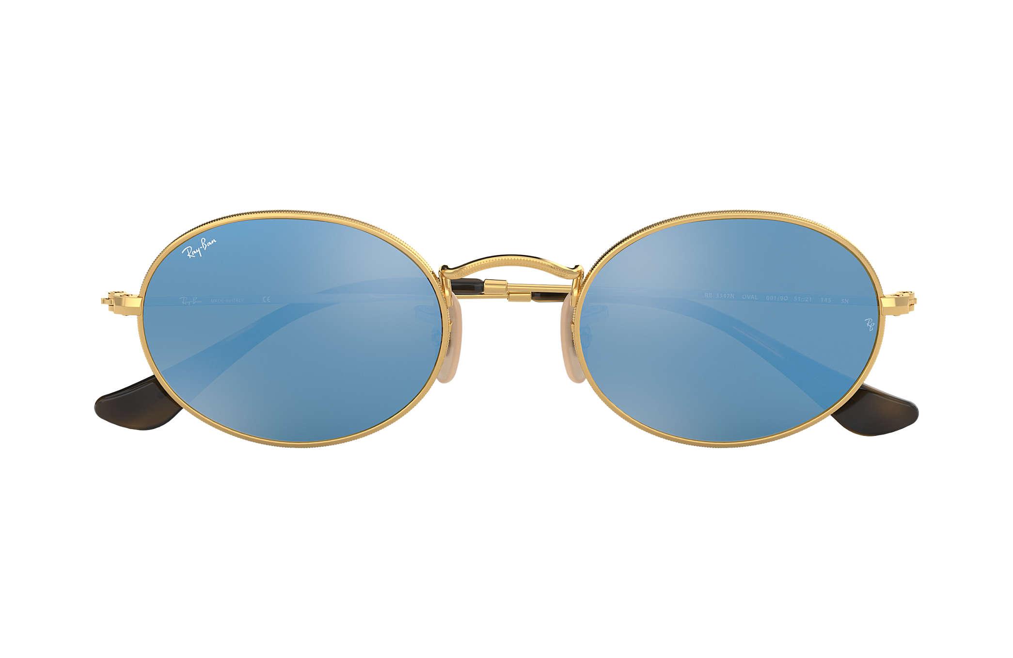 dd10700d3cf Ray-Ban Oval Flat Lenses RB3547N Oro - Metallo - Lenti Azzurro ...