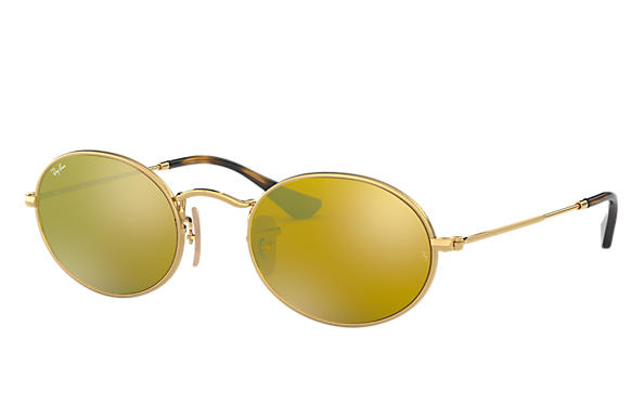 4148ec60757 Ray-Ban Oval Flat Lenses RB3547N Gold - Metal - Yellow Lenses ...