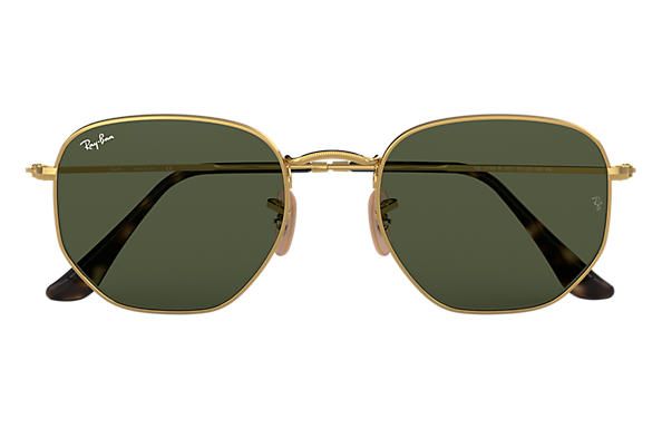 Ray-Ban Hexagonal Flat Lenses RB3548N Gold - Metal - Green Lenses ... f1bb8b82c8