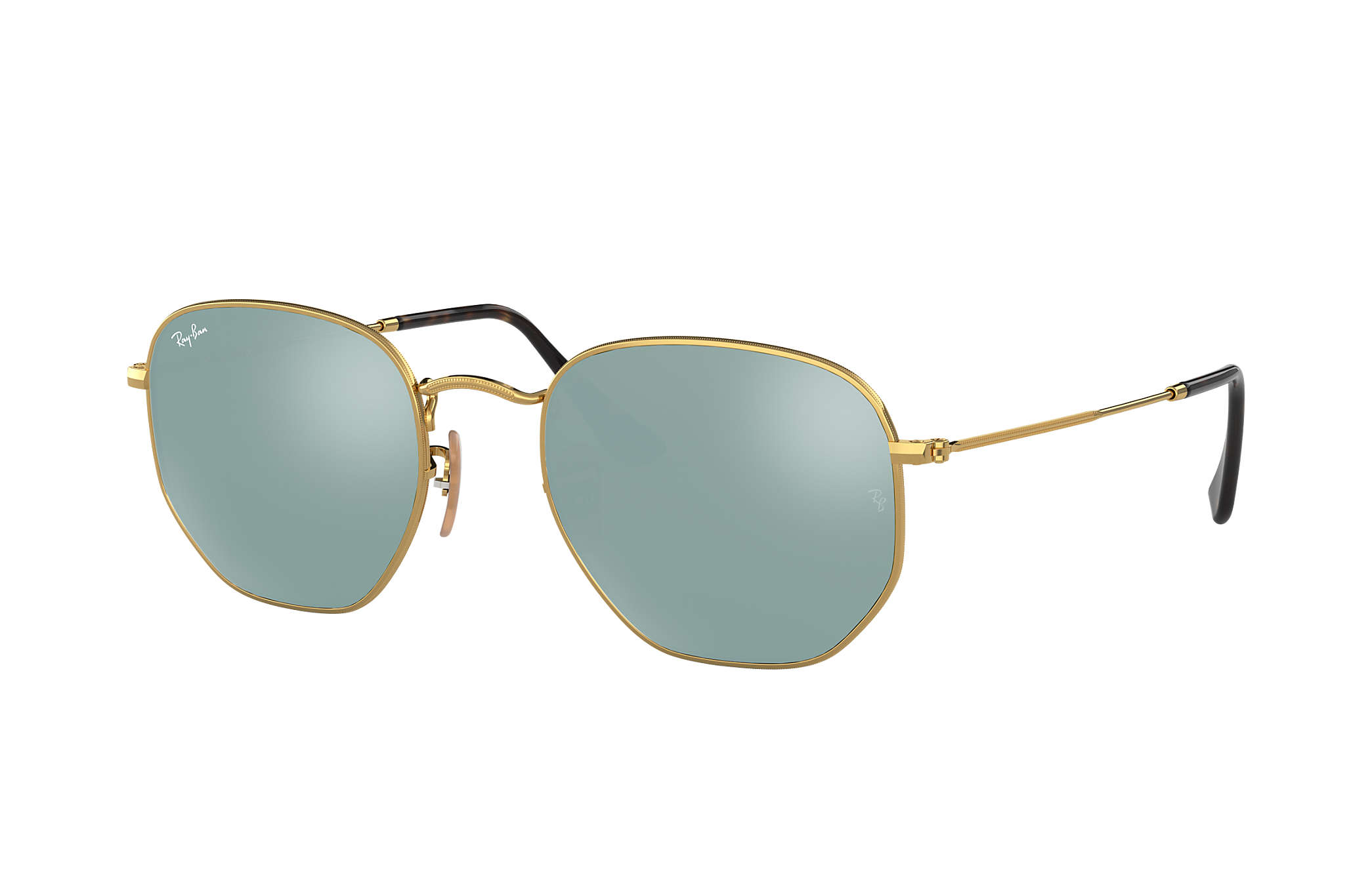 Ray-Ban Hexagonal Flat Lenses RB3548N Gold - Metal - Silver Lenses ...