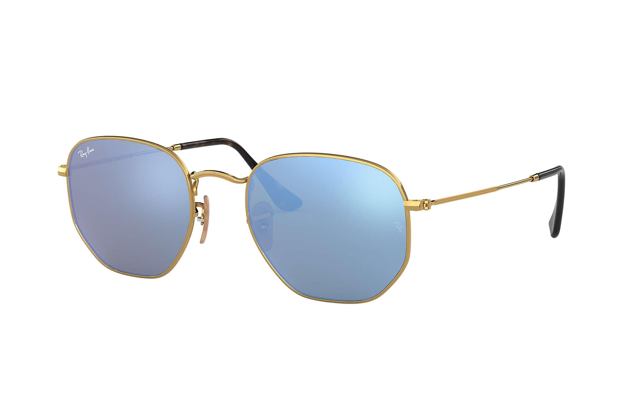 Ray-Ban Hexagonal Flat Lenses RB3548N Gold - Metal - Light Blue ... b2482232eb
