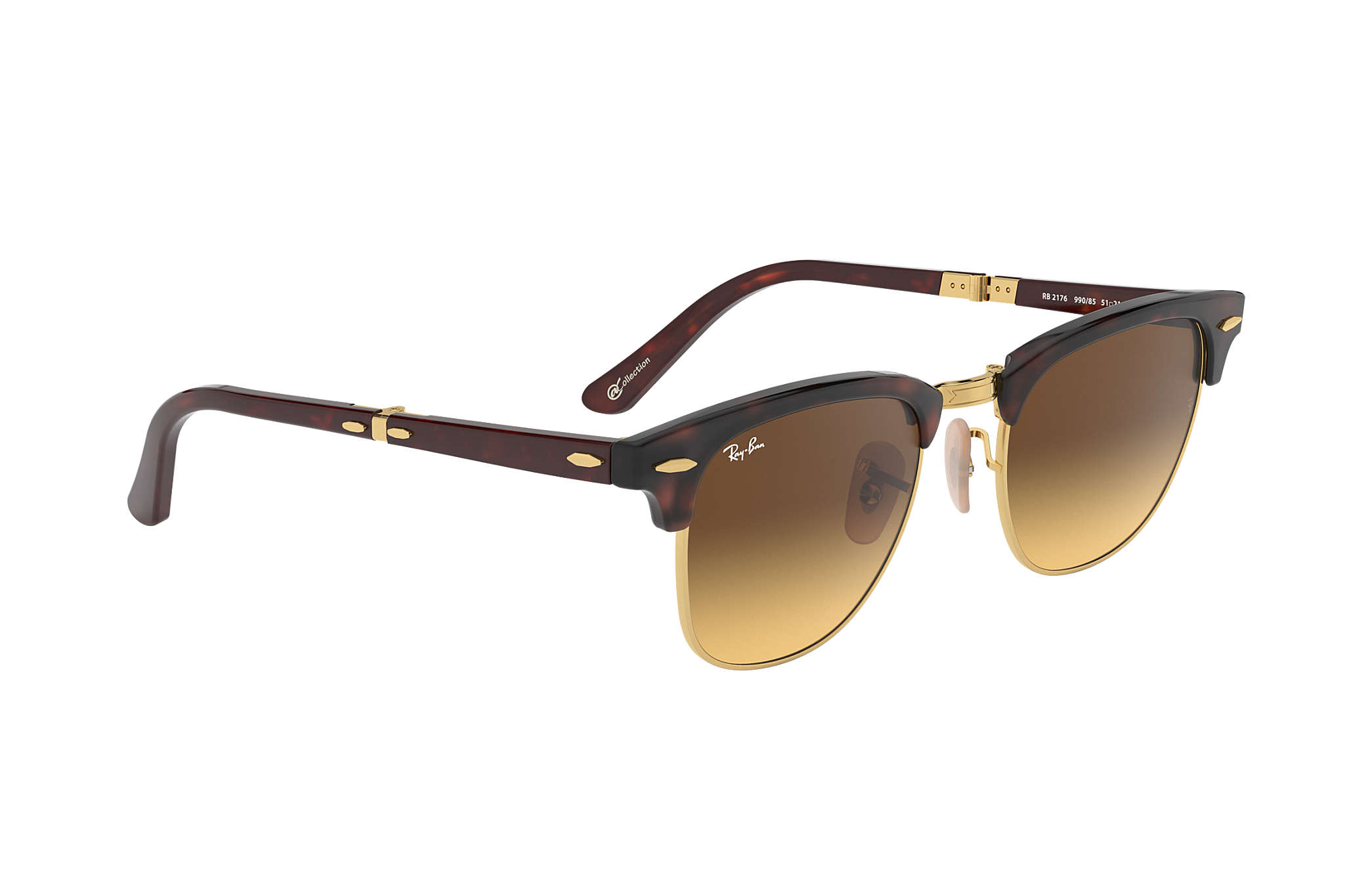... Ray-Ban 0RB2176-CLUBMASTER FOLDING  COLLECTION Tortoise  Gold SUN ... 5ff3f2a300
