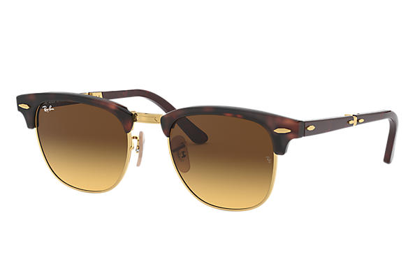 Ray-Ban		 CLUBMASTER FOLDING @COLLECTION Tortoise met brillenglas Bruin Gradiënt