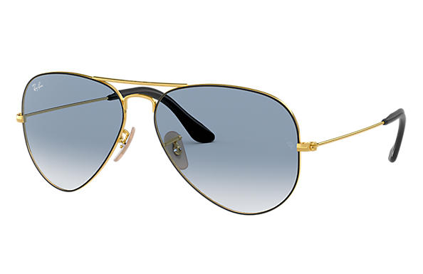 0b976fb7c518 Ray-Ban Aviator  collection RB3025 Gold - Metal - Light Blue Lenses ...