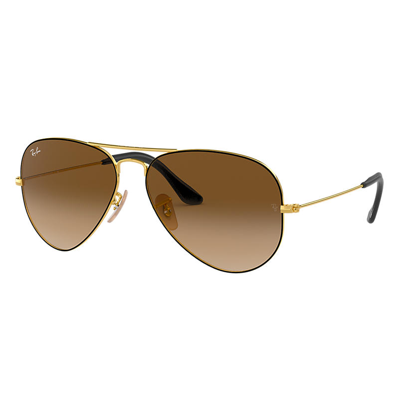 Ray Ban Aviator @Collection Gold Sunglasses, Brown Lenses Rb3025