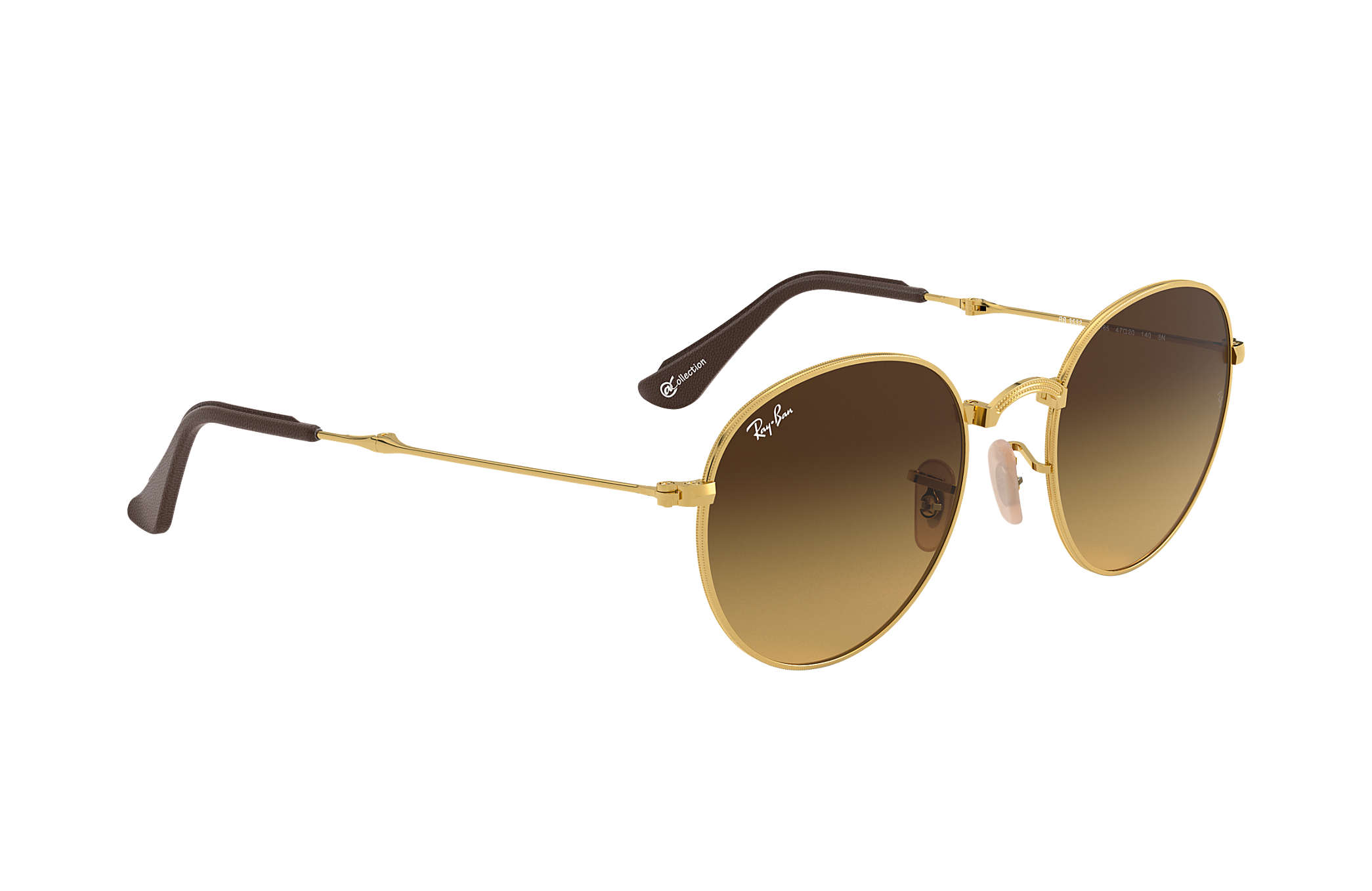 f0b85b1578699 Ray-Ban Round Folding  collection RB3532 Gold - Metal - Brown Lenses ...