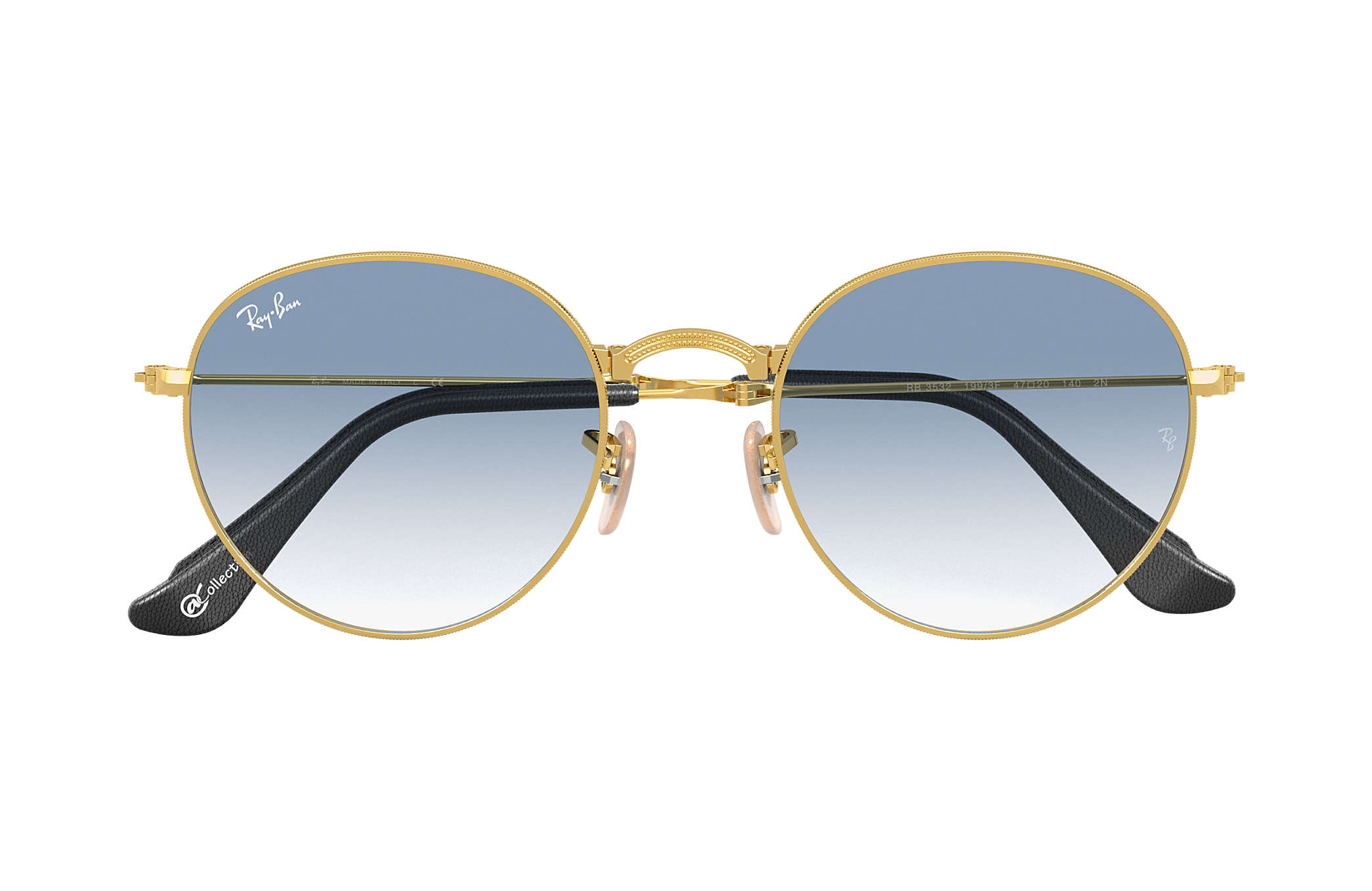 9024c692cd Ray-Ban Round Folding  collection RB3532 Gold - Metal - Light Blue ...