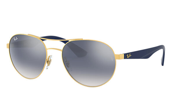 4599fb25399c3 Ray-Ban Rb3536  collection RB3536 Gold - Metal - Light Blue Lenses ...