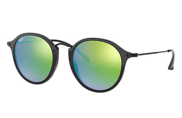 Ray-Ban ROUND FLECK FLASH LENSES GRADIENT Black with Green Gradient Flash lens