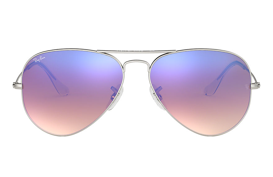 Ray-Ban AVIATOR FLASH LENSES GRADIENT Argent avec verres Bleu Gradient Flash
