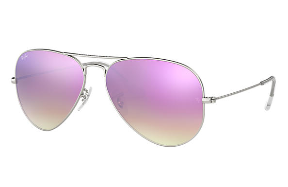 Ray-Ban 0RB3025-AVIATOR FLASH LENSES GRADIENT Argento SUN