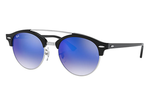 Ray-Ban 0RB4346-CLUBROUND DOUBLE BRIDGE Schwarz SUN