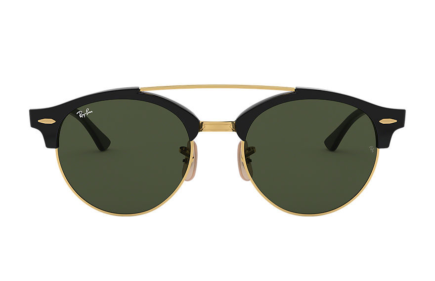 Ray-Ban Sunglasses CLUBROUND DOUBLE BRIDGE Black with Green Classic G-15 lens