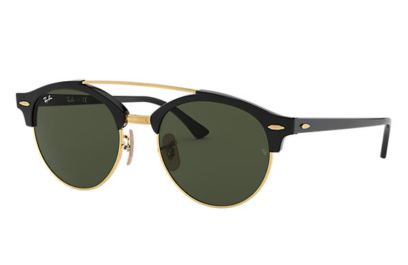 Ray-Ban		 CLUBROUND DOUBLE BRIDGE Zwart met brillenglas Groen Klassiek G-15