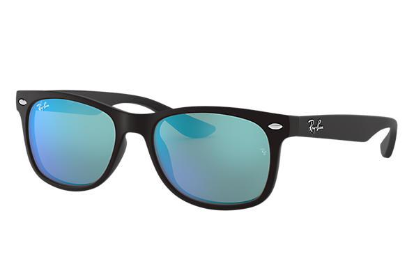 9d30d986e6 Ray-Ban New Wayfarer Junior RB9052SF Black - Injected - Blue Lenses ...