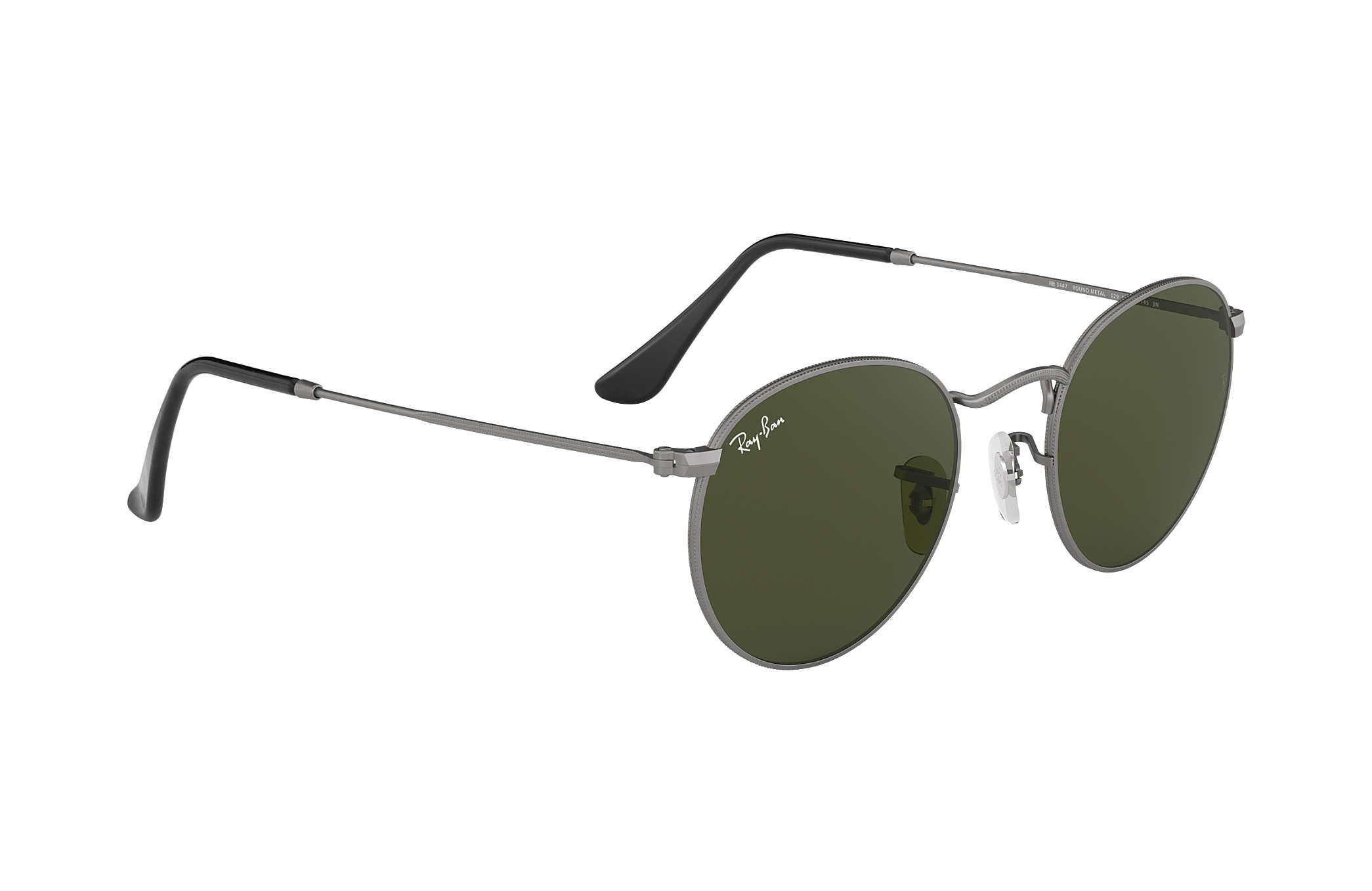 b31600e3a4 Ray-Ban Round Metal RB3447 Gunmetal - Metal - Green Lenses ...