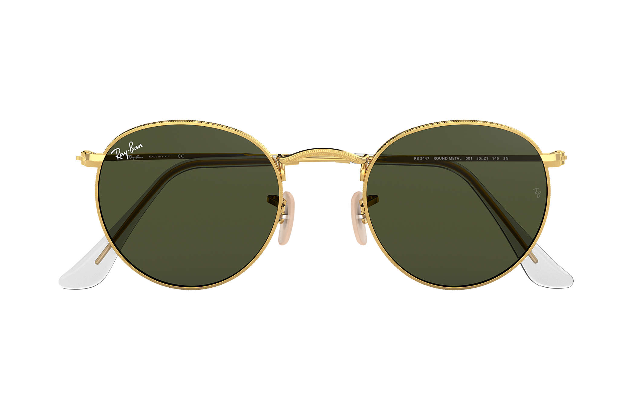 ee71fb6d32 Ray-Ban Round Metal RB3447 Gold - Metal - Green Lenses ...