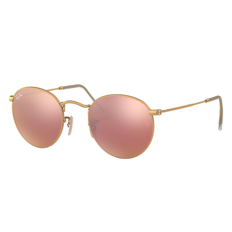 Ray-Ban Round Flash Lenses Gold, Pink Lenses - RB3447