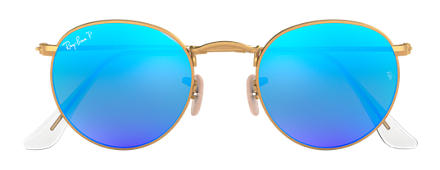 Ray-Ban ROUND FLASH LENSES Gold mit Blau Flash Gläsern