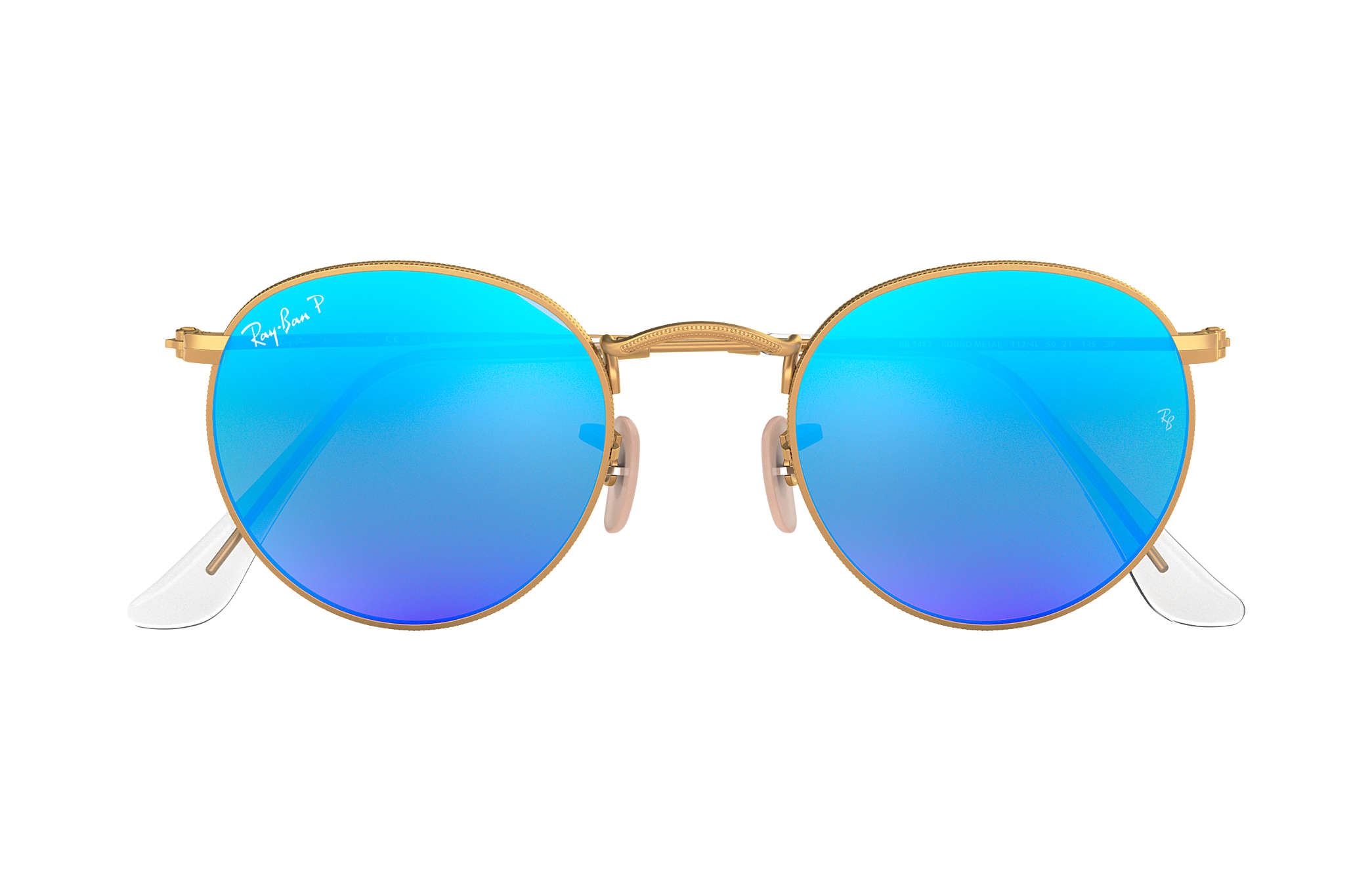 4255a509af1 Ray-Ban Round Flash Lenses RB3447 Gold - Metal - Blue Polarized ...