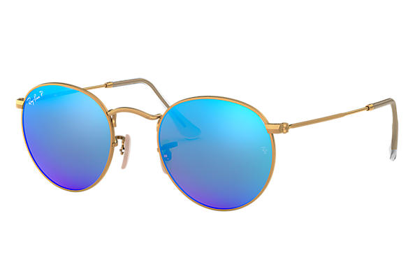 Ray-Ban Sunglasses ROUND METAL FLASH LENSES Gold with Blue Flash lens