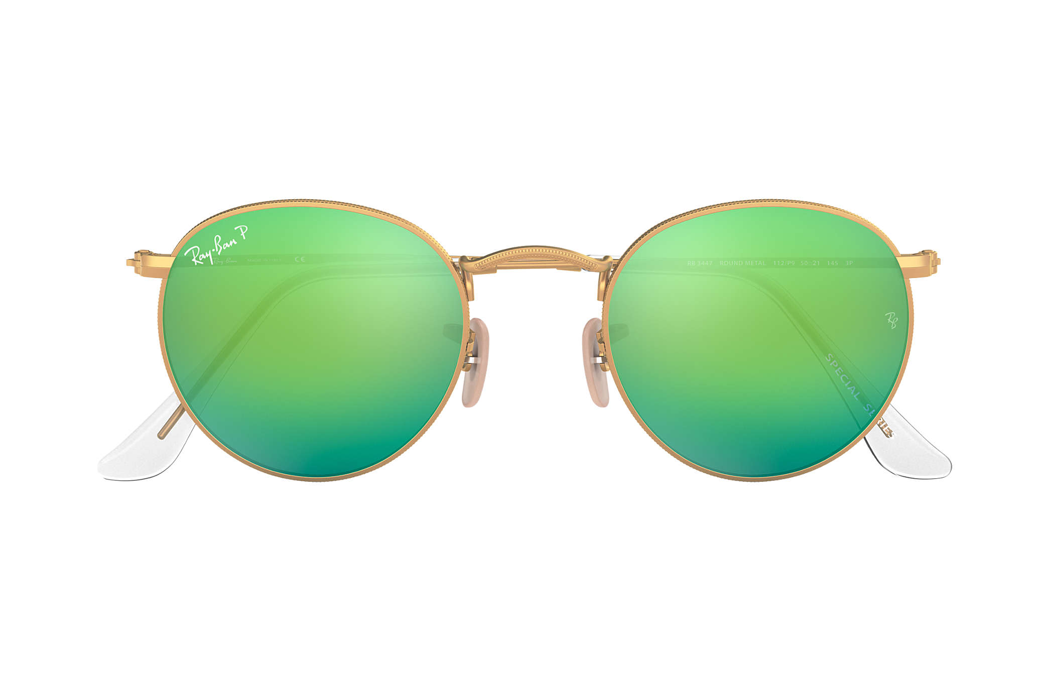 Ray-Ban Round Flash Lenses RB3447 Gold - Metal - Green Polarized ... 8d91ff5971