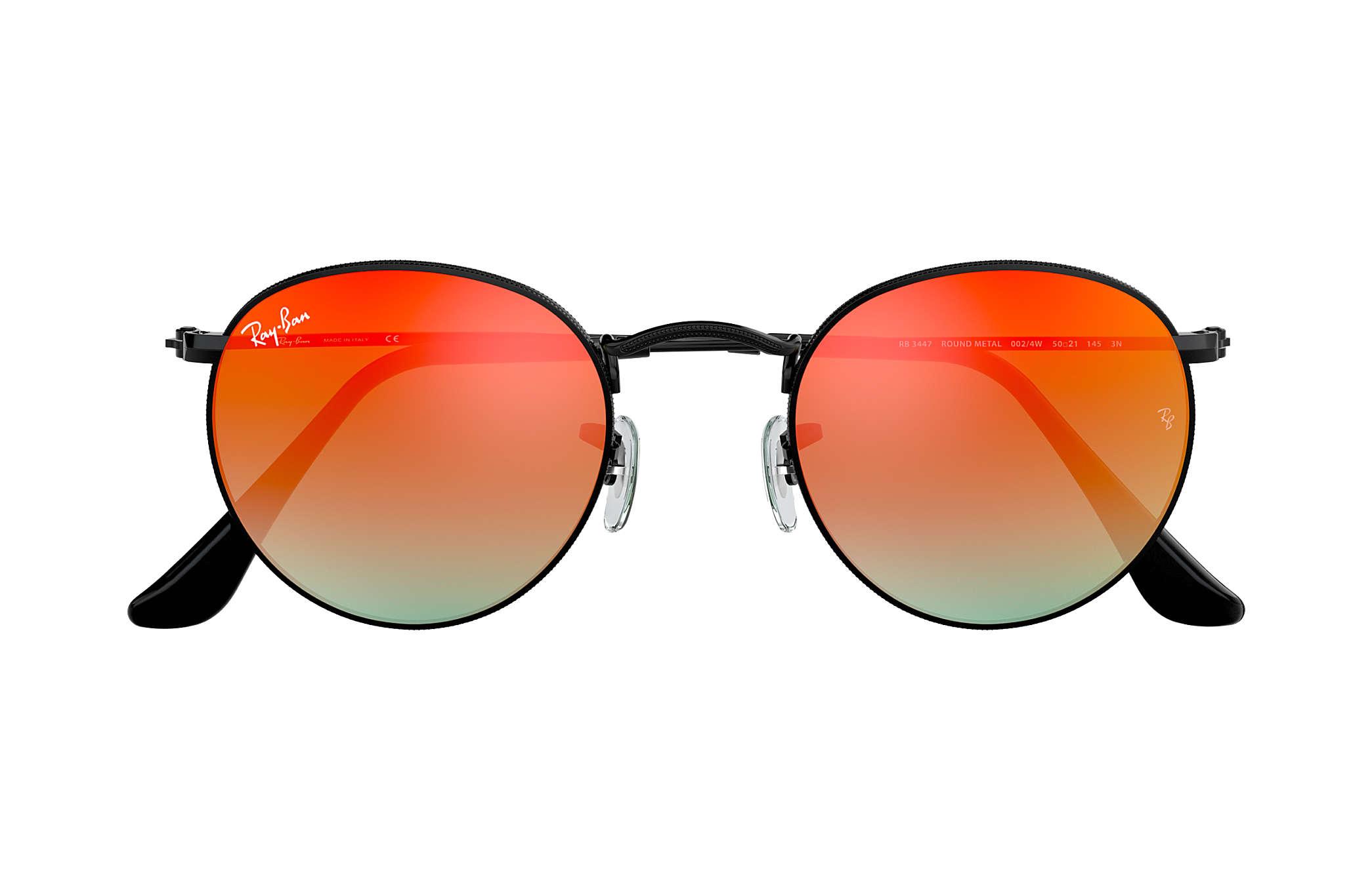 f15a3673f5fb Ray-Ban Round Flash Lenses Gradient RB3447 Black - Metal - Orange ...