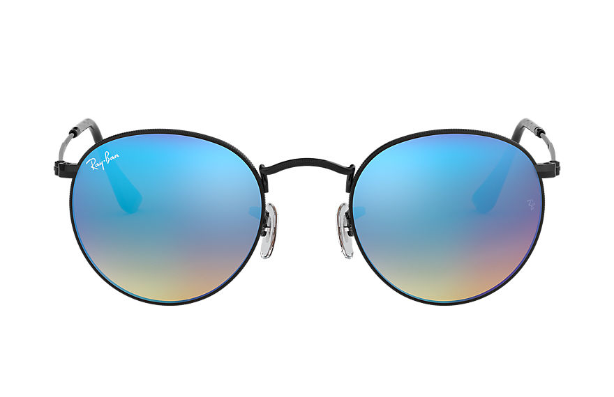 Ray-Ban ROUND FLASH LENSES GRADIENT Black with Blue Gradient Flash lens