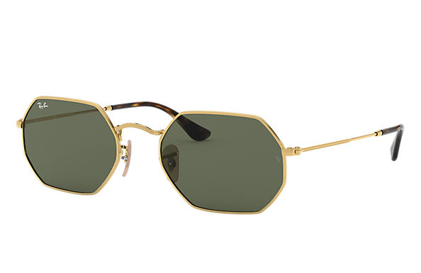 d1bc3f08acb Ray-Ban Octagonal Flat Lenses RB3556N Gold - Metal - Green Lenses ...