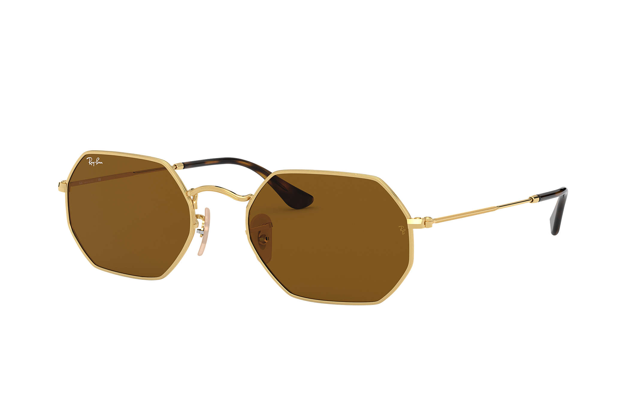 57575463a9abe Ray-Ban Octagonal Classic RB3556N Gold - Metal - Brown Lenses ...