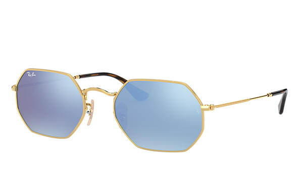 6e66bcef8b Ray-Ban Octagonal Flat Lenses RB3556N Gold - Metal - Light Blue ...