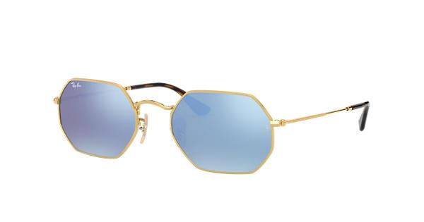 193dce67667 Ray-Ban Octagonal Flat Lenses RB3556N Gold - Metal - Light Blue Lenses -  0RB3556N001 9O53