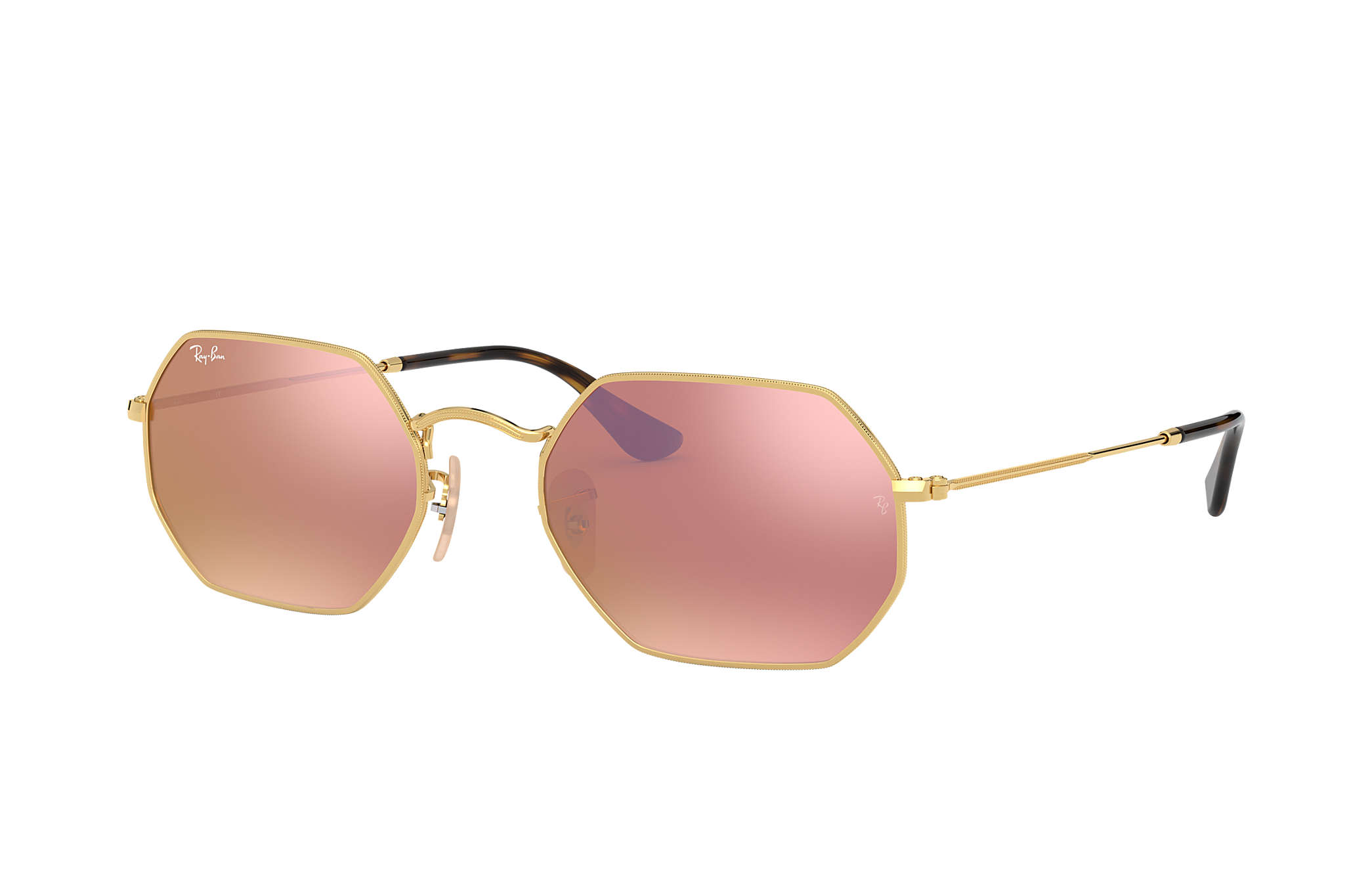 48216e3088 Ray-Ban Octagonal Flat Lenses RB3556N Gold - Metal - Copper Lenses ...
