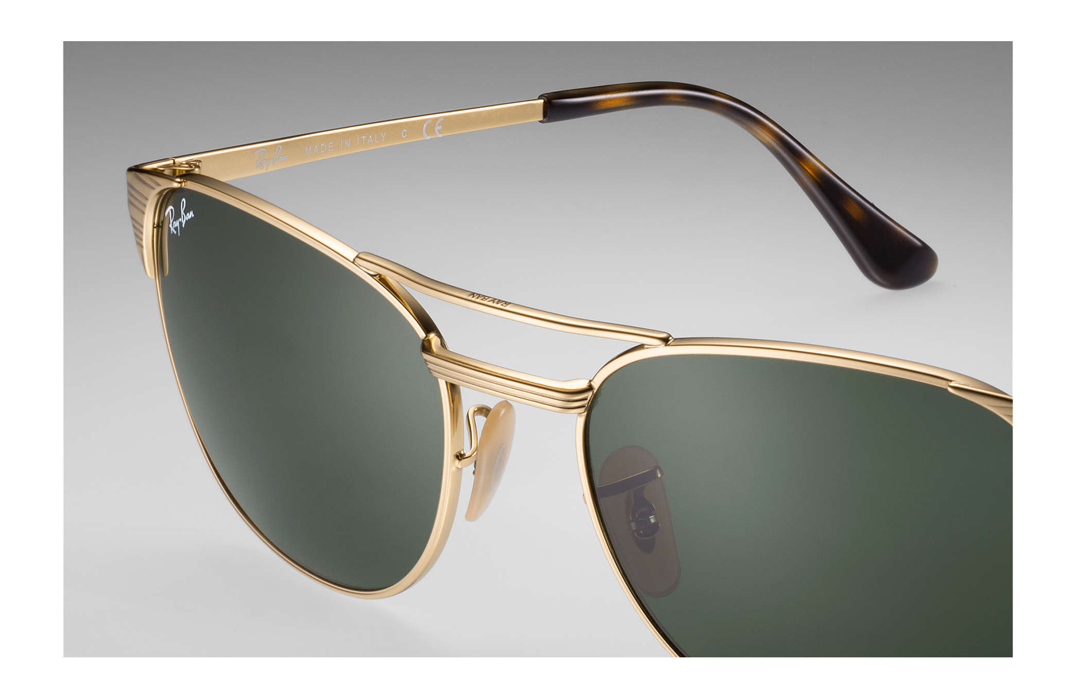 612103d6d49f Ray-Ban Signet RB3429M Gold - Metal - Green Lenses - 0RB3429M00155 ...