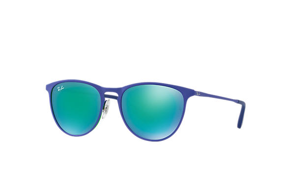 Ray-Ban Sunglasses ERIKA METAL JUNIOR Blue with Green Mirror lens