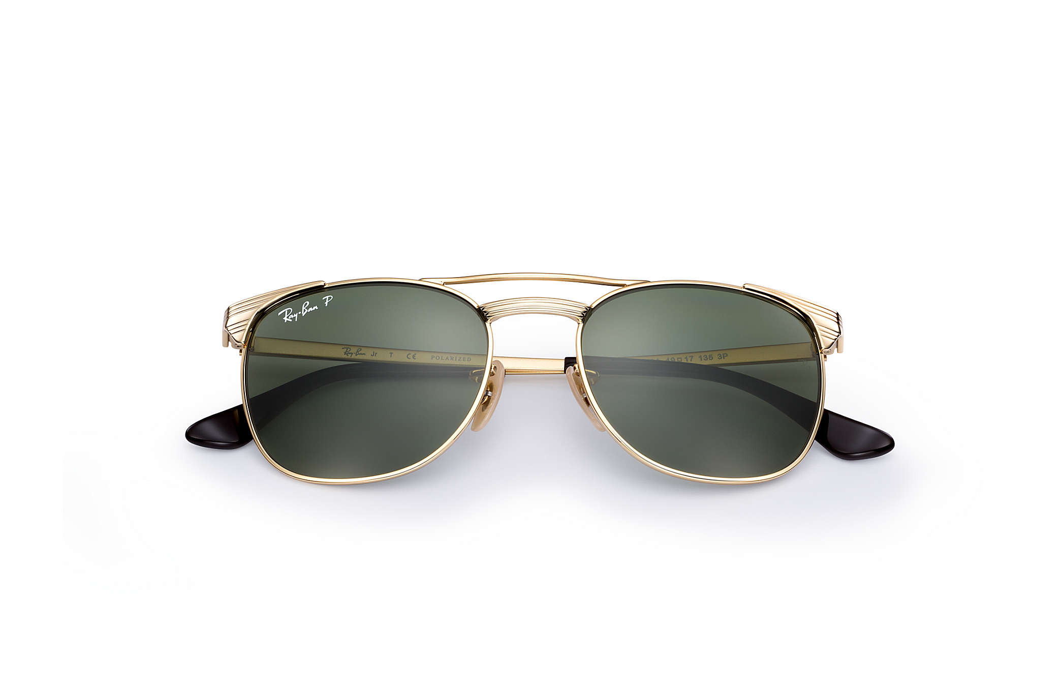 bd3a8d5866a432 Ray-Ban Signet Junior RB9540S Gold - Metal - Green Polarized Lenses ...