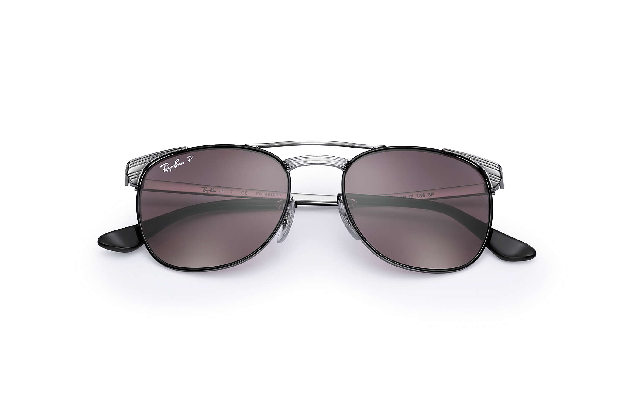 51a3ac2e443 Ray-Ban Signet Junior RB9540S Gunmetal - Metal - Violet Polarized ...