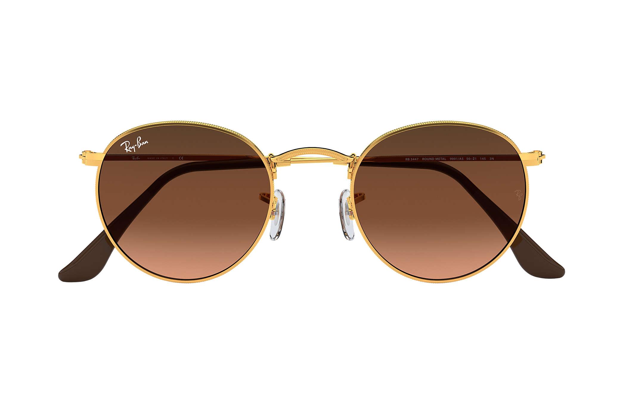 9fef9b4da3 Ray-Ban Round Metal RB3447 Bronze-Copper - Metal - Pink Brown Lenses ...