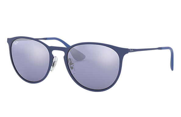 Ray-Ban Sunglasses ERIKA METAL Blue with Grey Mirror lens