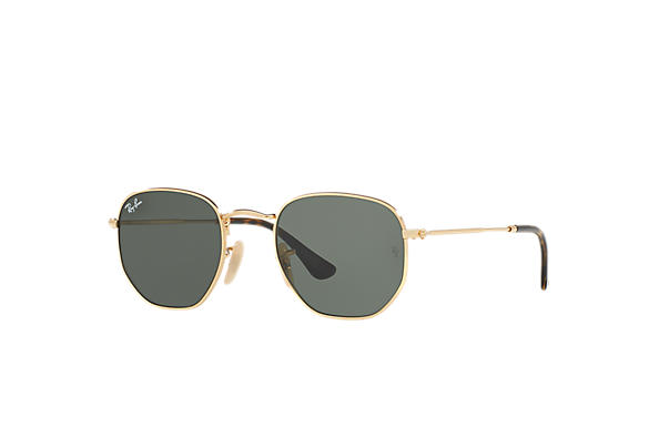 Ray-Ban Sunglasses HEXAGONAL FLAT LENSES Gold with Green Classic G-15 lens