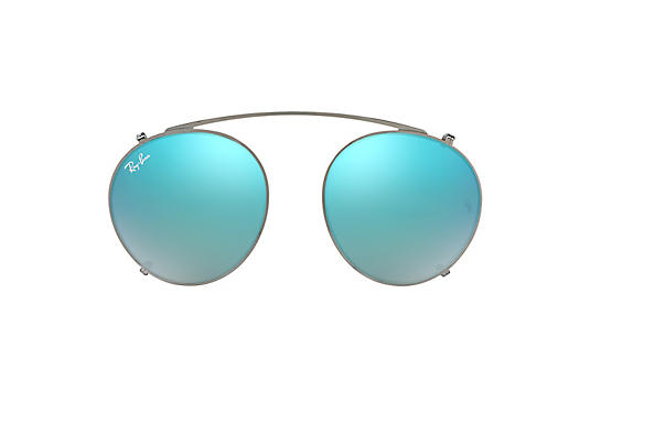 Ray-Ban Accessories Round Fleck Clip-on Gunmetal with Blue Gradient Flash lens